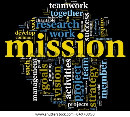Mission and business management concept in word tag cloud isolated on black - stock photo