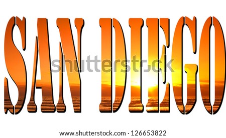 Mission Bay, San Diego sunset in San Diego sign - stock photo