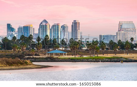 Mission Beach Sunset and View of Downtown, San Diego California, USA  - stock photo