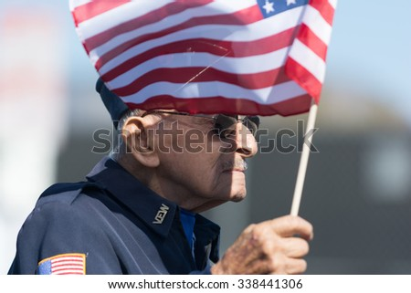 Mission Hills, USA - November 11, 2015: Fito Magdaleno U.S. Army veteran during The San Fernando Valley Veterans Day Parade - stock photo