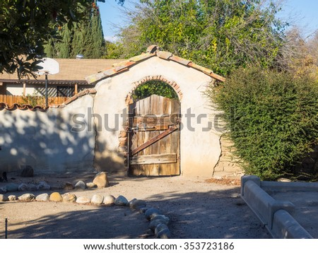 Mission San Miguel Arcangel is a Spanish mission in San Miguel, San Luis Obispo County, California. - stock photo