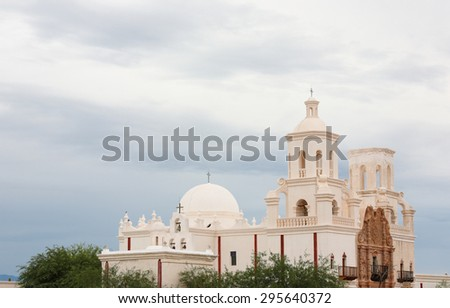 Mission San Xavier del Bac in a Cloudy Day, Tucson, Arizona, USA - stock photo
