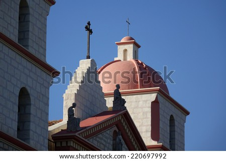 Mission Santa Barbara has been a California landmark since 1820. The mission underwent considerable repairs following an earthquake in 1925 and now houses a museum.                            - stock photo