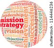 Mission strategy info-text graphics and arrangement concept on white background (word cloud) - stock vector