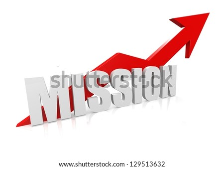 Mission with upward red arrow - stock photo
