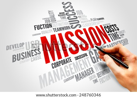 MISSION word cloud, business concept - stock photo