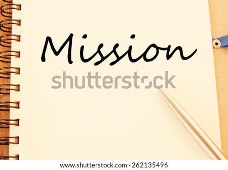 mission word write on paper