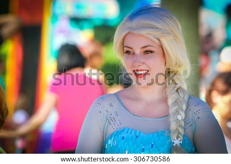 Mississauga, Canada - Jul 1, 2015: Actress playing Elsa role from Frozen movie for the kids celebrating Canada Day in Mississauga. - stock photo