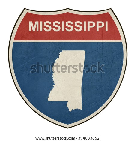 Mississippi American interstate highway road shield isolated on a white background. - stock photo