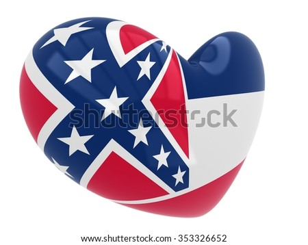 Mississippi flag in the shape of a heart - stock photo