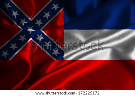 Mississippi flag on satin texture.
