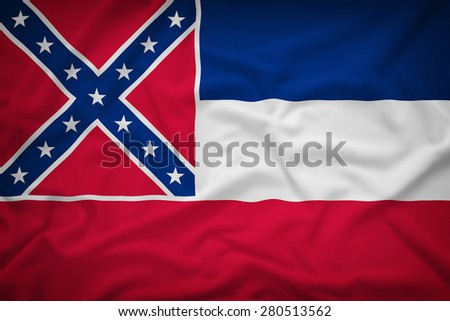 Mississippi flag on the fabric texture background,Vintage style