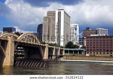 Mississippi in St. Paul, Minnesota, USA. - stock photo