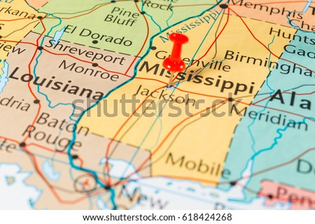 Mississippi On Map United States Stock Photo (Edit Now) 618424268 ...