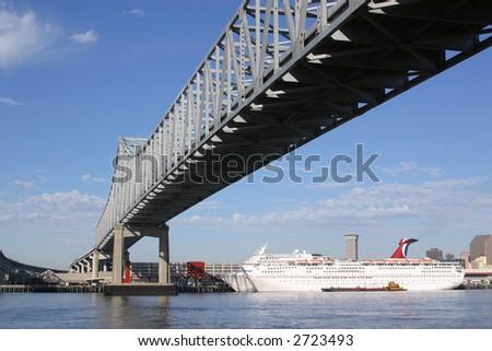 Mississippi River bridge in New Orleans. - stock photo