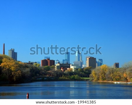 Mississippi river in Minneapolis - stock photo