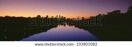Mississippi River, Minneapolis, Sunset, Minnesota - stock photo