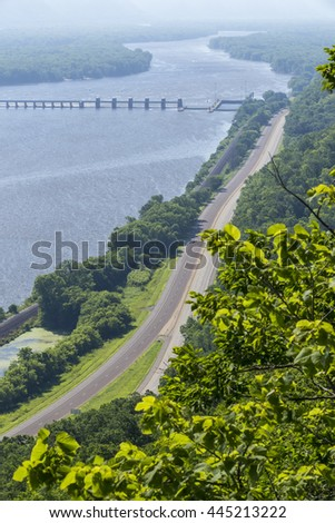Mississippi River Scenic with Dam