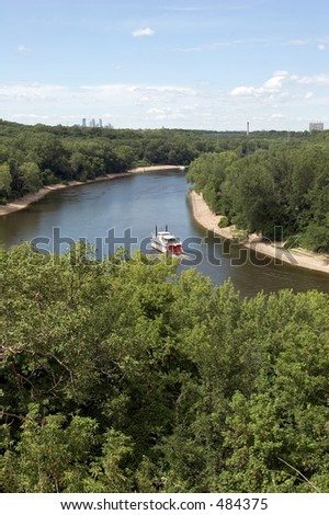 Mississippi River with Minneapolis skyline, seen from historic Fort Snelling - stock photo