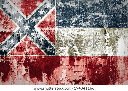 Mississippi state Flag on steel wall - stock photo