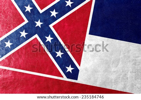 Mississippi State Flag painted on leather texture - stock photo