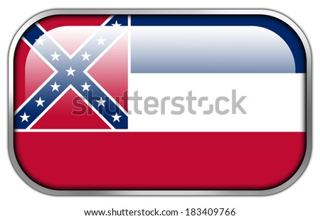 Mississippi State Flag rectangle glossy button - stock photo
