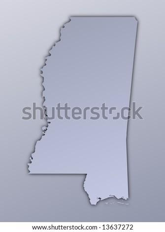 Mississippi Usa Outline Map Shadow Detailed Stock Illustration - Mississippi usa map