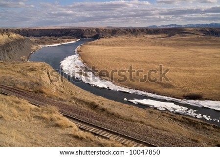 Missouri River as it meanders through Montana on a winter day