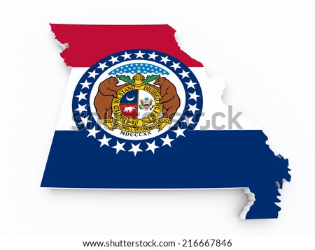 Missouri state flag on 3d map  - stock photo