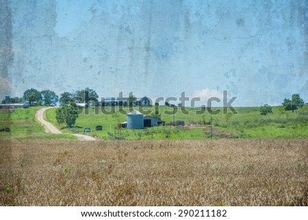 Missouri wheat farm field with vintage affects - stock photo
