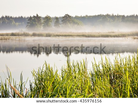 Mist on a river at dawn - stock photo