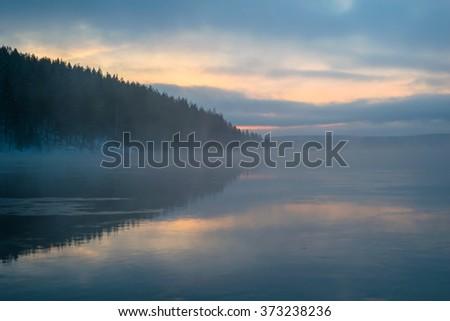 Mist on the lake with reflection of forest at twilight - stock photo