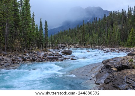 Mistaya Canyon, Banff National Park, Alberta, Canada - stock photo