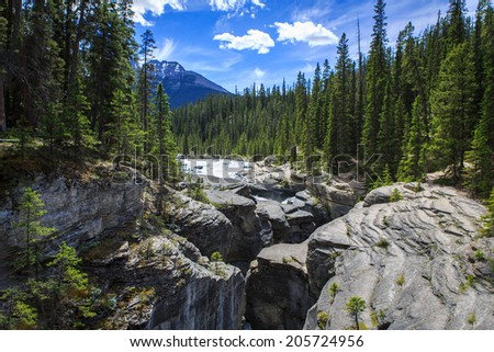 Mistaya Canyon in Banff National Park, Alberta, Canada - stock photo