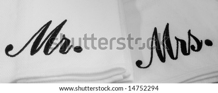 Mister and Misses monogrammed napkins - stock photo
