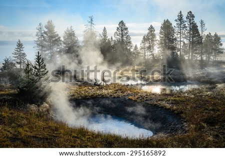 Misting Ponds at Yellow Stone National Park - stock photo