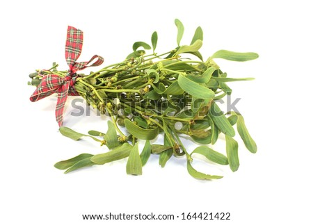 Mistletoe with berries and ribbon on a light background