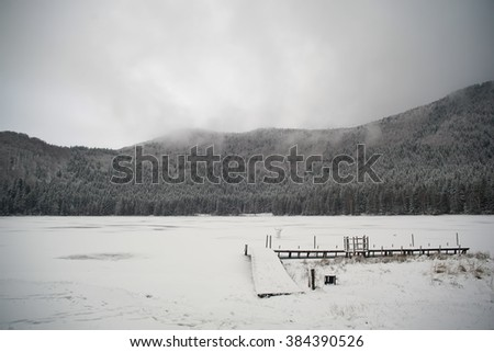 Misty and peaceful landscape of snow covered frozen lake rounded by pine forest - stock photo