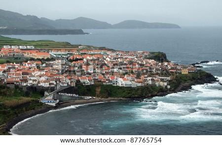 misty coastal scenery at Sao Miguel Island - stock photo