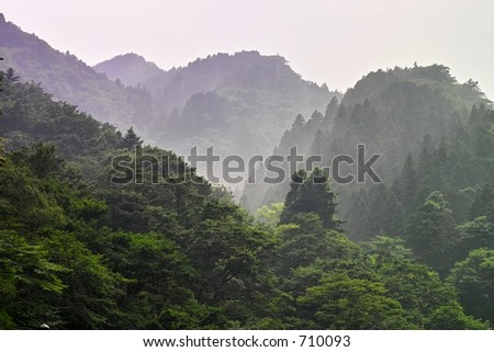 Misty hills before Nikko