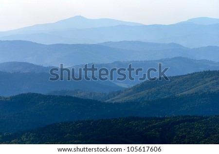 misty horizons blue tones - view from Mala Fatra mountains to Beskyd or beskydy mountains - Karpathos mountains - Europe