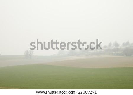 misty landscape - stock photo