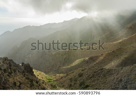 Misty landscape in Tenerife canyons, Tenerife, Canary islands, Spain.