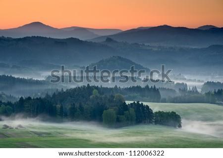 Misty landscape in the morning, Czech Republic - stock photo