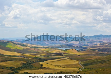 Misty Landscape of Sicily with Lake in the Spring