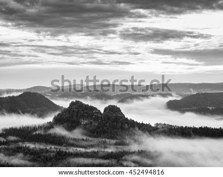 Misty morning after heavy rain. View into long deep valley full of fresh spring mist. Fall landscape within daybreak after rainy night. Black and white photo - stock photo