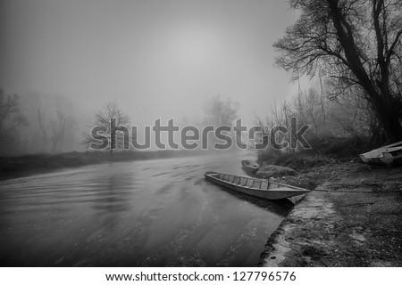 Misty morning near the Ticino river - Italy - stock photo