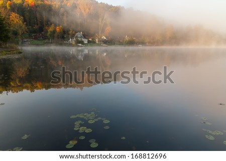 Misty morning on the Rock Lake, West Virginia - stock photo