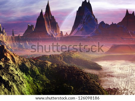 Misty Morning over Paradise Valley - stock photo