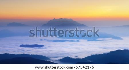 Misty Mountain at morning, Huay nam dang National park, Chiangmai ,Thailand - stock photo
